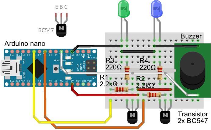 Arduino NANO LED Sketch mit BC547 und Buzzer
