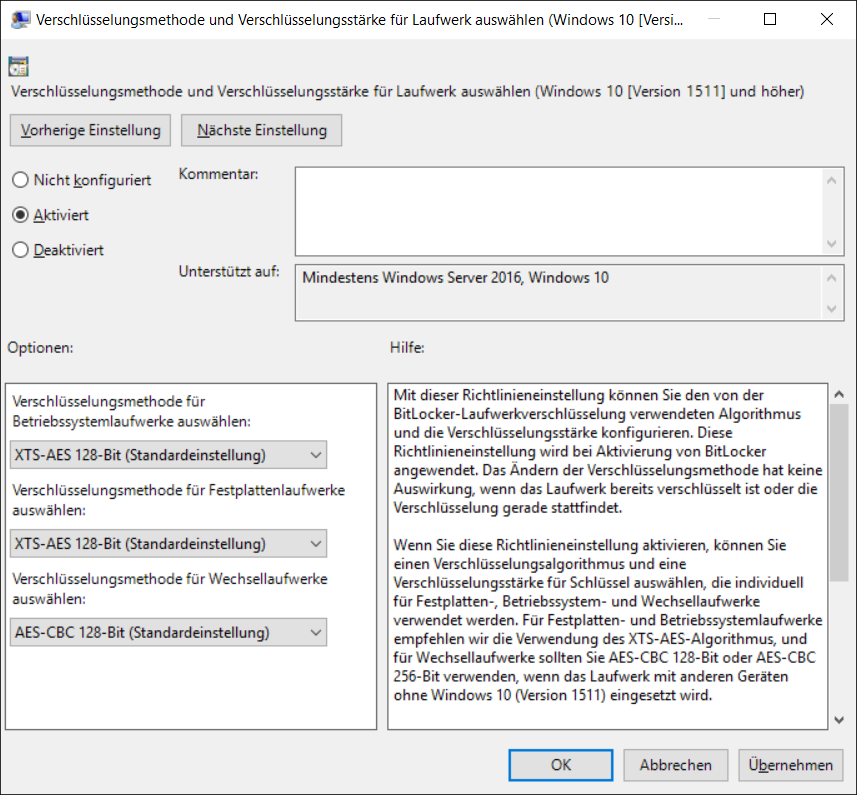 BitLocker Group Policy Standardwerte: AES-128