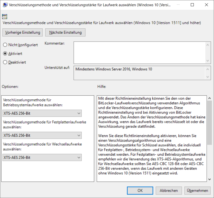 BitLocker Group Policy empfohlende Werte: XTS-AES-256