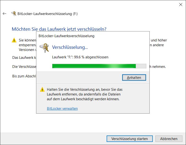BitLocker To Go Initialverschlüsselung