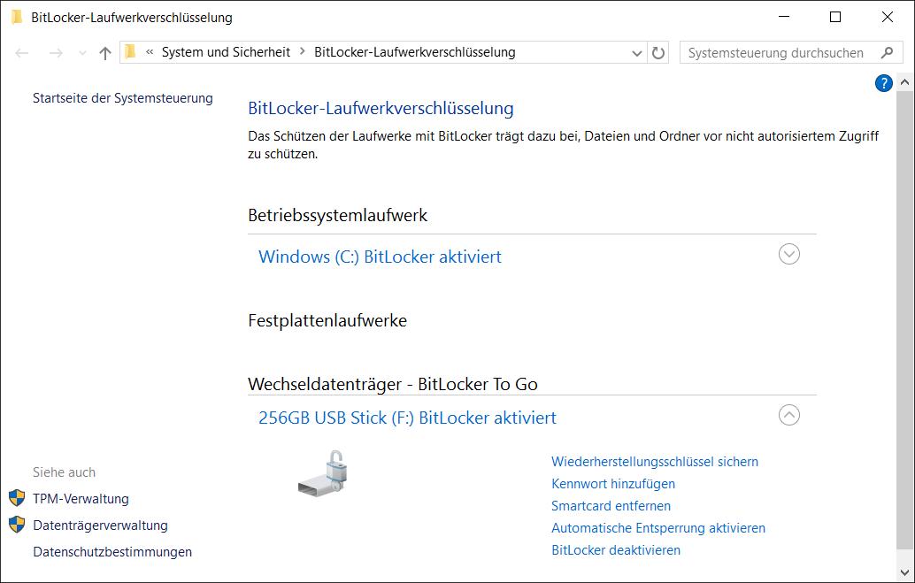 BitLocker To Go Verschlüsselung Einstellungen - Wiederherstellungsschlüssel - Kennwort - Smartcard - automatische Entsperrung - BitLocker deaktivieren
