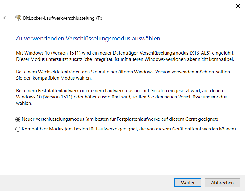 BitLocker To Go Verschlüsselungsmodus AES XTS-AES auswählen
