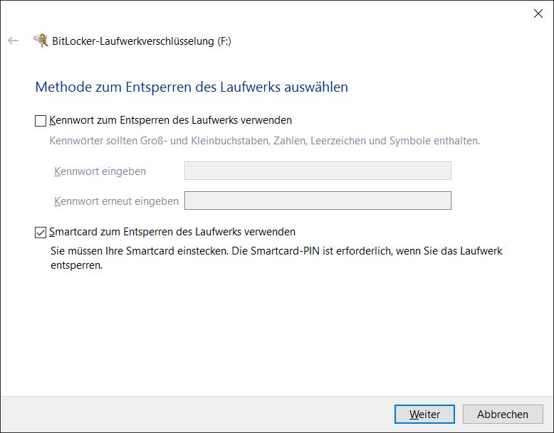 BitLocker To Go Initialisierung die Entsperrmethode auswählen