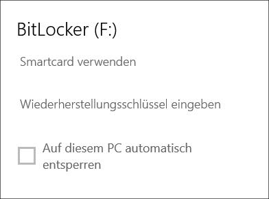 BitLocker To Go Meldung bei verschlüsselten Speichermedien per Smartcard verwenden zu öffnen
