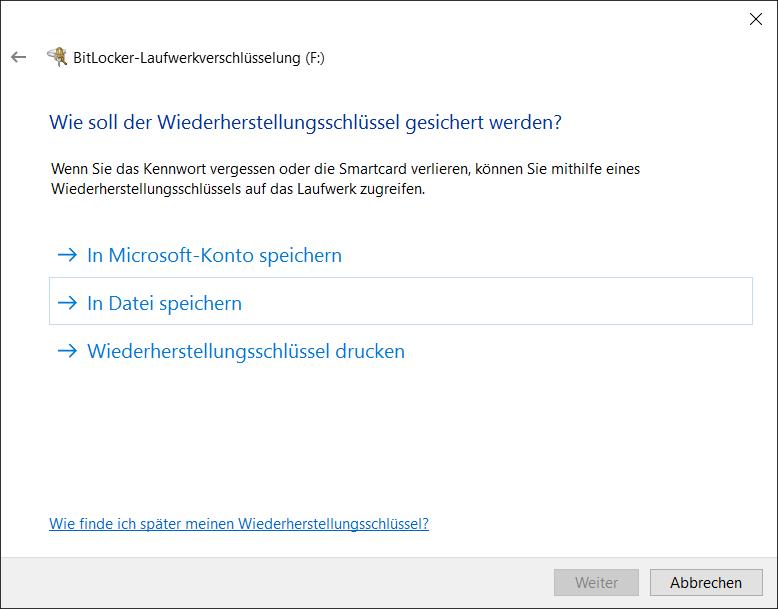 BitLocker to Go Wiederherstellungsschlüssel speichern