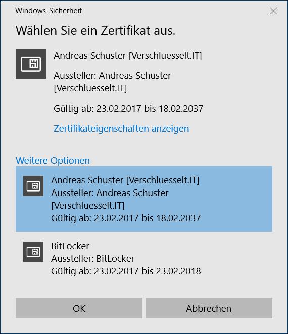 BitLocker To Go Auswahl des Zertifikats für die Verschlüsselung