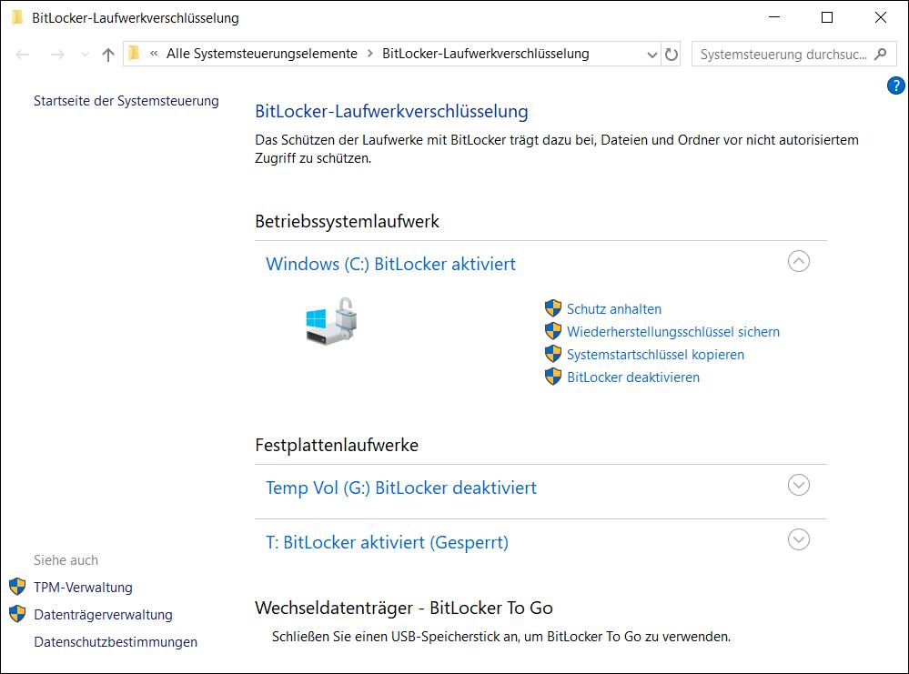 BitLocker Konfiguration überprüfen und Einstellungen verwalten