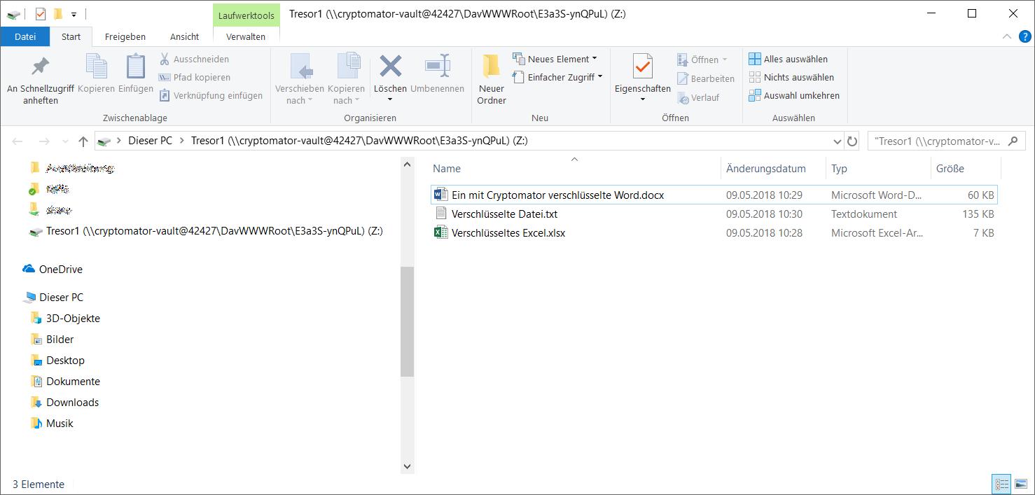 Cryptomator Ablage von Daten im Tresor