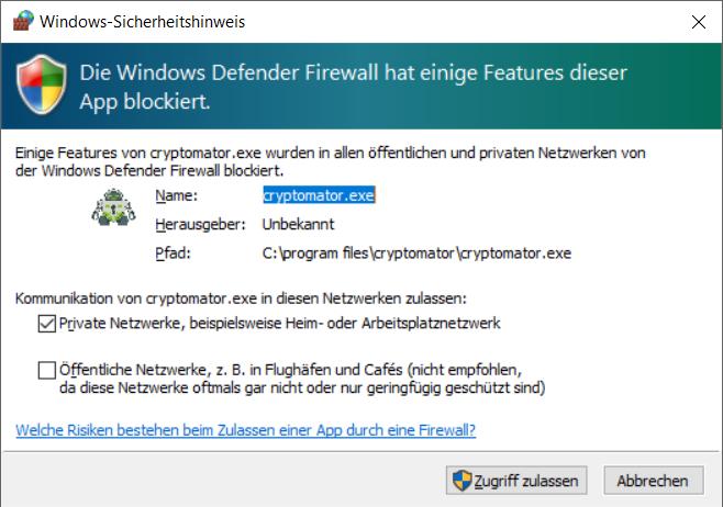Cryptomator Windows Firewall Sicherheitshinweis