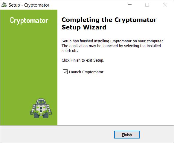 Cryptomator: Starten der Software