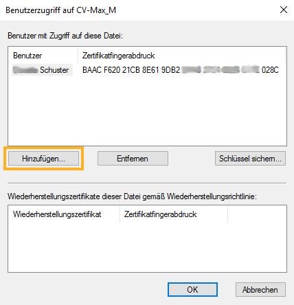 Microsoft EFS, Dateieigenschaften, Erweitert -> EFS Details