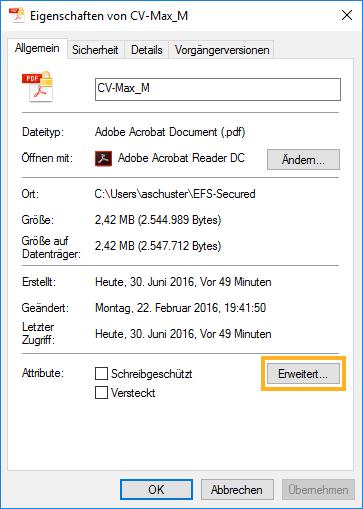 Microsoft EFS verschlüsselte Datei. Explorer -> rechte Maustaste -> Eigenschaften