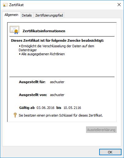 EFS Encrypted File System Verschlüsselungszertifikat mit privatem RSA 2048-Bit Schlüssel