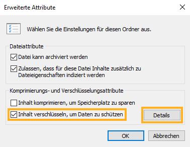 Microsoft EFS Dateieigenschaften, Option: Inhalt verschlüsseln, um Daten zu schützen