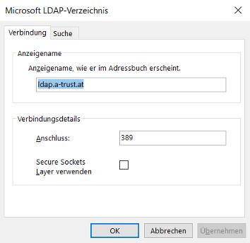 Outlook 2016 -> Datei -> Kontoeinstellungen -> Adressbücher -> Neu > LDAP -> Weitere Einstellungen -> Verbindungen