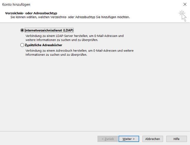 Outlook 2016 -> Datei -> Kontoeinstellungen -> Adressbücher -> Neu > LDAP