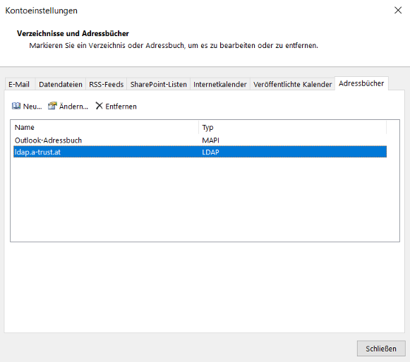 Outlook 2016 -> Datei -> Kontoeinstellungen -> Adressbücher