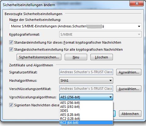 Outlook symmetrische Verschlüsselung Auswahlliste RC2 + 3DES + AES