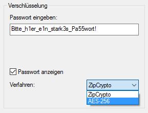 7Zip: ZIP 2.0 (ZipCrypto) und AES256 Verschlüsselung